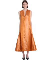 jil sander dress in orange linen