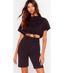 womens draw attention tee and biker shorts set - black