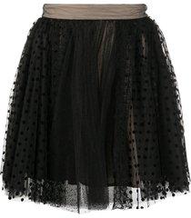 brognano lace polka-dot skirt - black