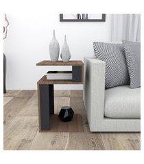 mesa de canto para sala nogueira e preto lilies móveis