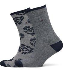 th women sock 2p flower lingerie socks regular socks blå tommy hilfiger
