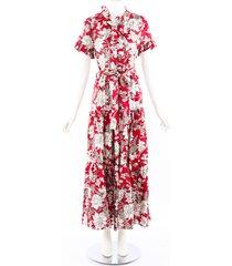 la doublej red floral print silk tiered maxi dress red/white/floral print sz: l