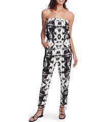 women's 1.state tie dye strapless jumpsuit, size xx-small - black