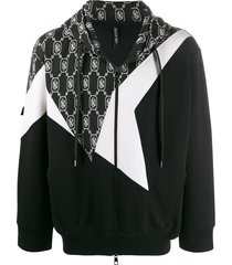neil barrett patchwork bolt hoodie - black