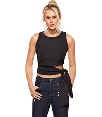 top cropped modisch cotton laço preto