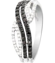 anello in oro bianco e diamanti bianchi 0,12 ct e neri 0,29 ct per donna