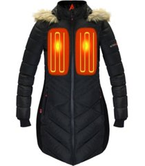 actionheat women's 5v battery heated long puffer jacket with hood