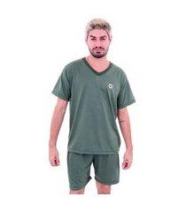 pijama malha fria soneca & cia curto verde