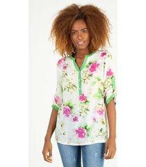 blusa semi transparente estampado floral