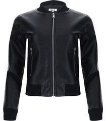 chaqueta lisa tipo cuero mujer color negro, talla l