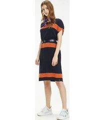 tommy hilfiger women's pleated stripe sweater dress sky captain - l