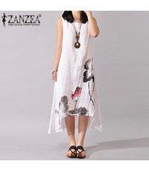 zanzea más el tamaño s-5xl de las mujeres sin mangas del algodón flojo de lino del verano una línea de vestido vestido del tanque (blanco) -blanco