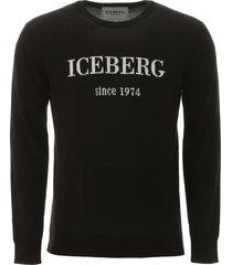 iceberg pullover with logo intarsia