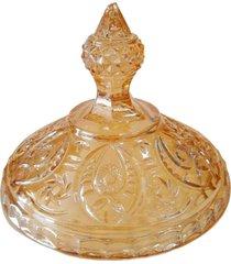 bomboniere de cristal âmbar com pé - uh1027 - 32 cm