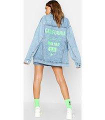 neon california oversized jean jacket, light blue