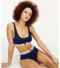 tommy hilfiger women's organic cotton logo bralette navy blazer - xs