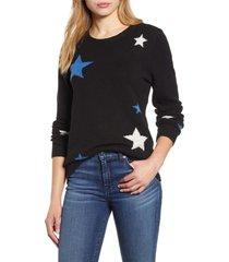 women's lucky brand star intarsia sweater, size medium - black