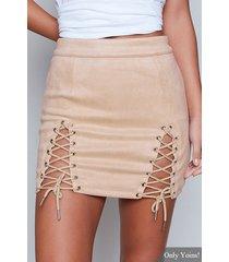 falda ajustada con cordones albaricoque diseño