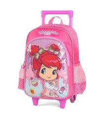 kit mochila com rodinhas moranguinho baby com lancheira e estojo