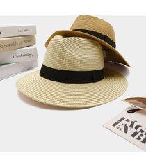 1 pieza de paja de ala grande sólida para vacaciones de verano sombrero