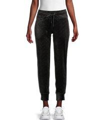 dkny sport women's velour debossed logo jogger pants - black - size m