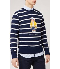 polo ralph lauren men's bear logo stripe sweatshirt - cruise navy/white - xl