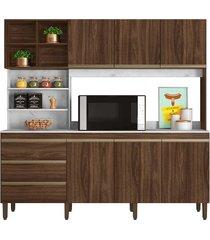 armário cozinha marselha c/ 200cm de largura 6 portas 3 gavetas e nichos peternella