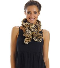 [shop lev] melody women's leopard faux fur spiral/ twisted scarf (brown leopard)