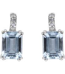 orecchini in oro bianco con acquamarina 2,56 ct e diamanti 0,04 ct per donna