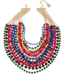 "betsey johnson gold-tone bead, fireball & fabric rose multi-row statement necklace, 17"" + 3"" extender"