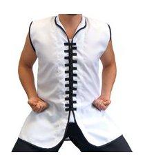 colete para kung fu jugui branco/preto
