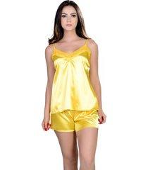 short doll  yasmin lingerie silk satin amarelo - amarelo - feminino - dafiti