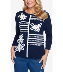 alfred dunner women's missy lazy daisy ribbon floral applique sweater
