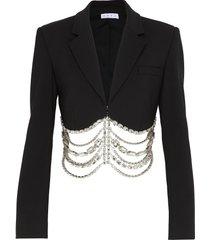 drape scallop crystal hem crop blazer
