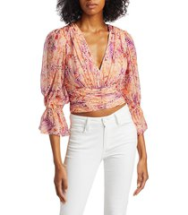 amur women's gitana floral silk cropped blouse - cantaloupe rosa floral - size xxs