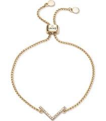 dkny gold-tone crystal chevron bolo bracelet