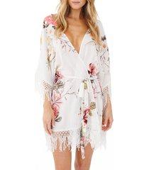women's plum pretty sugar hibiscus robe, size x-small/small - white