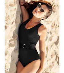 chamela 24515 - vestidos de baño enterizos de moda para mujer - control abdominal unicolor-negro-negro