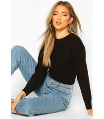 cropped fisherman sweater, black