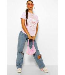 gebleekt coachella rock t-shirt met tekst en schedel, rose