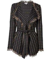 casaco dudalina manga longa xadrez feminino (xadrez preto, 44)