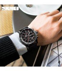 reloj de cuarzo multifuncional de moda para hombres-rojo