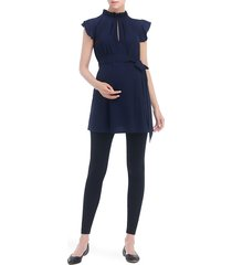 women's kimi and kai karlena flutter sleeve belted maternity top, size medium - blue