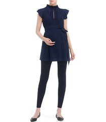 women's kimi and kai karlena flutter sleeve belted maternity top, size small - blue