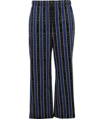 black and blue striped pajama pants