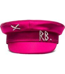 ruslan baginskiy crystal-embellished satin baker boy hat - pink