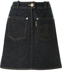 chanel pre-owned 1996 straight denim skirt - blue