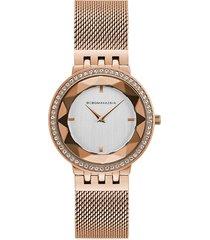 bcbgmaxazria women's stainless steel, crystal & mesh bracelet watch