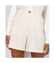 bermuda feminina cintura alta alfaiataria com linho e bolsos off white