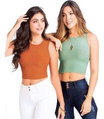 camiseta paq x2 para mujer ladrillo/verde mp